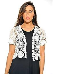 Bolero Shrug/Floral Crochet Women Cardigan