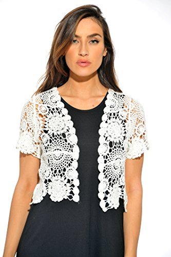 401147-Wht-M Just Love Bolero Shrug / Women Cardigan,White Floral Crochet,Medium -