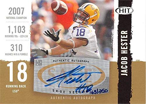 Jacob Hester autographed Football Card (LSU) 2008 SAGE HIT Bronze Rookie #A18 - Autographed College Cards ()