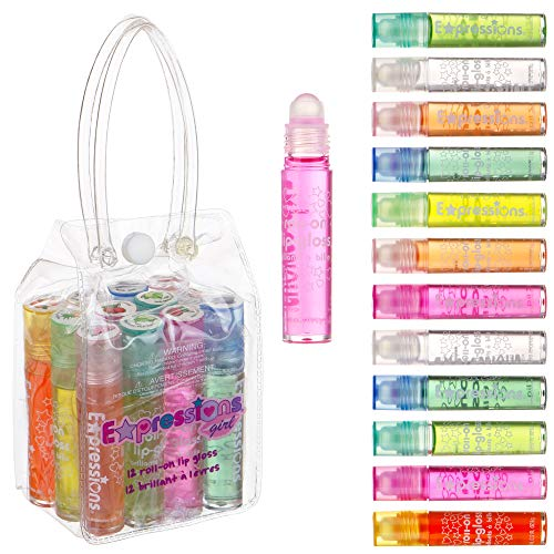 Expressions Girl Roll On Lip Gloss Set with Carrying Case, 12-Piece Glossy Lip Make-up for Kids and Teens – Fruity…