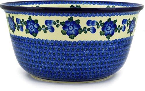 Polish Pottery Bowl 12-inch Blue Poppies by Polmedia Polish Pottery (Image #3)