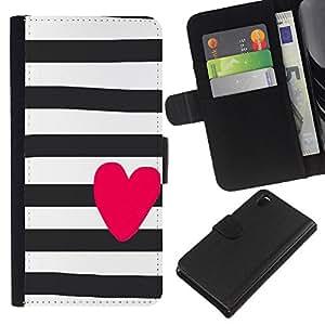 A-type (Pink Valentines Sailor Stripes Grey) Colorida Impresión Funda Cuero Monedero Caja Bolsa Cubierta Caja Piel Card Slots Para Sony Xperia Z3 D6603