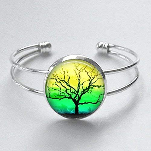 - Jamaican Tree of Life Cuff Bracelet Handmade 25mm Silver Plated Jewelry