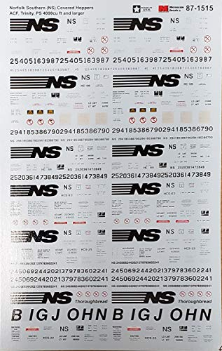 Railroad Decal Set - Norfolk Southern ACF, Trinity, PS 4000cu ft & Larger Covered Hoppers