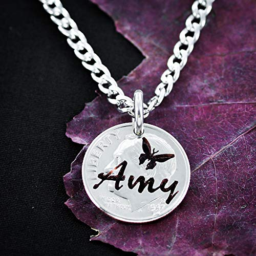 - Butterfly coin necklace, custom name and butter fly charm, By NameCoins
