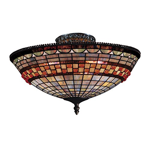 Jewelstone Collection - Alumbrada Collection Jewelstone 3 Light Semi Flush In Classic Bronze