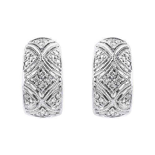 Antique Style Diamond Huggie Hoop Earrings 14K White Gold ()