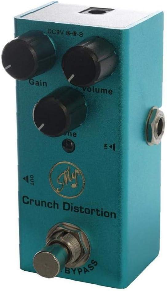 lujiaoshout Pedal de distorsión Efecto Crunch para Guitarras eléctricas con True Bypass Mini Solo de Guitarra Pedal de distorsión Classic Rock DC 9V Azul