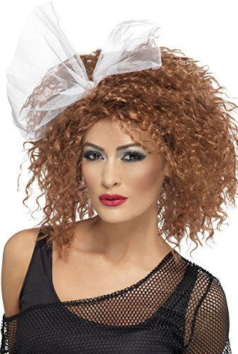 (Smiffys Women's Brown Curly 80's Wig with Bow, One Size, 80's Wild Child Wig,)