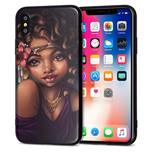 iPhone XR Case African American Afro Girls Women Slim Fit Shockproof Bumper Cell Phone Accessories Thin Soft Black TPU Protective Apple iPhone XR Cases (06)