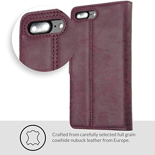 arrives 80ee9 8f159 Snakehive iPhone 7 Plus Case, Vintage Collection Apple iPhone 7 Plus Wallet  Case in Nubuck Leather Credit Card/Note Slot Apple iPhone 7 Plus (Plum)