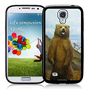 Cool Painting Grizzly Bear Standing Growling - Protective Designer BLACK Case - Fits Samsung Galaxy S4 i9500