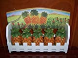 Hand Painted Fine Ceramic Wooden Spice Rack Organizer Pineapple Design with 5 Pieces Ceramic Spice B...