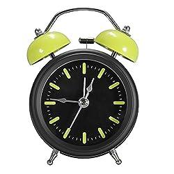 Jeteven Creative Quartz Twin Bell Alarm Clock Loud Bedside Desk Clock with Nightlight, Green