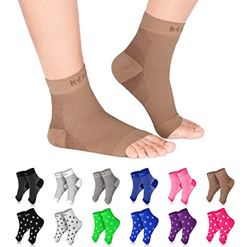 NEWZILL Plantar Fasciitis Socks with Arch Support, Best 24/7 Foot Care Compression Sleeve, Eases Swelling & Heel Spurs, Ankle Brace Support, Increases Circulation (S/M, Nude)