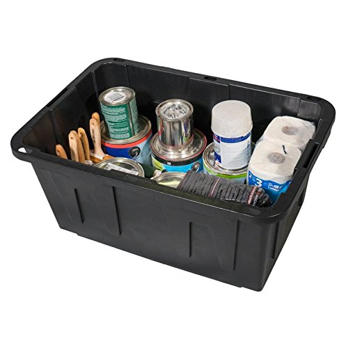 27 Gallon Black Tote with Standard Snap Lid Heavy duty Construction For Garage and Workshop Use by Centrex (Image #3)