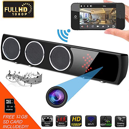 Hidden Camera WiFi HD 1080P Bluetooth Speaker Spy Hidden Surveillance Camera Motion Detector Night Version Video Recorder 24 Hours Real-time Monitoring