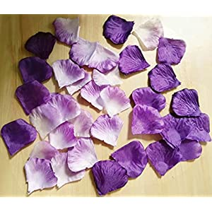 Worldoor Pack of 600pc Mixed Color Rose Petals Purple,Lavender,White Wedding Centerpieces Party Decoration Confetti Bridal Shower Party Favor 80