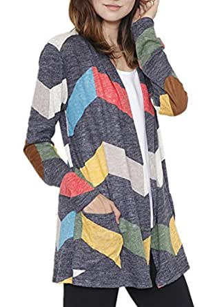 Poulax Women's Geometric Print Open Front Leightweight Knit Cardigan with Pockets,Black,S