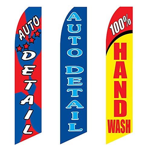 3 Swooper Flags Welcome Auto Detail Shop Hand Wash Car Wash (Best Hand Wash Car Wash)