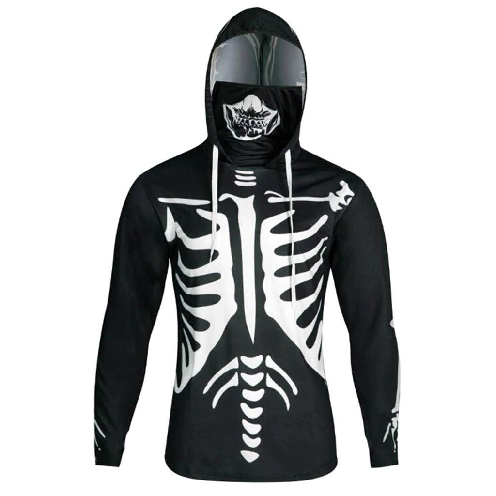 Halloween 3D Men's Glow in The Dark Skeleton Costume Hoodie Sweatshirt