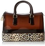 FURLA Candy Medium Satchel with Leopard Print Top Handle Handbag