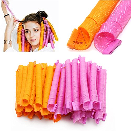 DIY Magic Hair Curlers Styling Curlformers Spiral Ringlet Hairband Tool 40Pcs Color Random