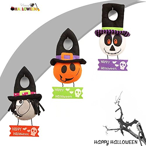 Set of 3 Happy Halloween Felt Hang Ghost Pumpkin Witch Wall Window Door Hanging Decoration By KIYOOMY