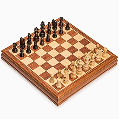 Traditional Wooden Chess Set with 11.8 Inch Board and Chessmen