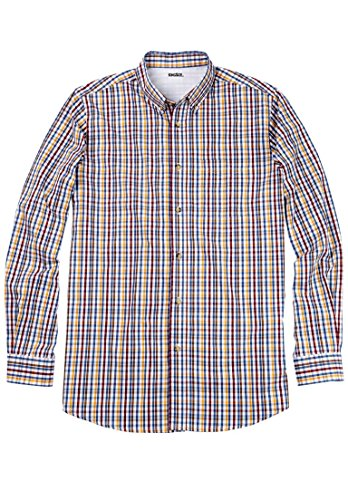 Kingsize Men's Big & Tall Wrinkle-Resistant Long Sleeve Sport Shirt, Multi Check