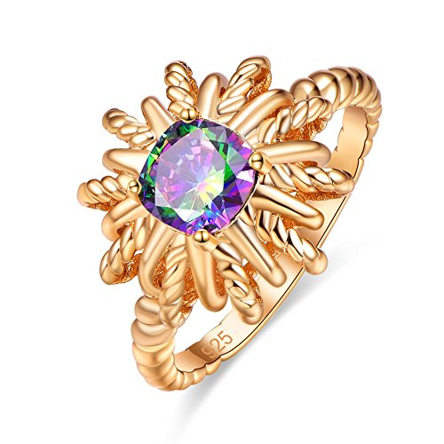 (Psiroy Yellow Gold Plated Created Rainbow Topaz Starburst Shaped Rope Band Ring Size 7)
