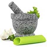 Mortar and Pestle Set - Unpolished Granite Bowl with Bonus Garlic Peeler | Great for Guacamole! | Protective Pad for Stability and Protected Counters