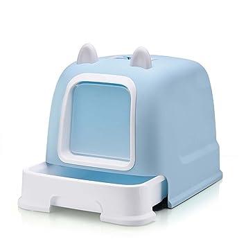 DSHBB Caja de Arena para Gatos, Inodoro Cat de Estilo Cerrado, Bandeja para desechos de Gato para Control de olores (Color : Azul): Amazon.es: Hogar