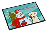 Cheap Caroline's Treasures Snowman with Yellow Labrador Indoor or Outdoor Mat, 18 by 27″, Multicolor