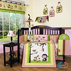 GEENNY Boutique 13 Piece Girl's Crib Bedding Set, Monkey