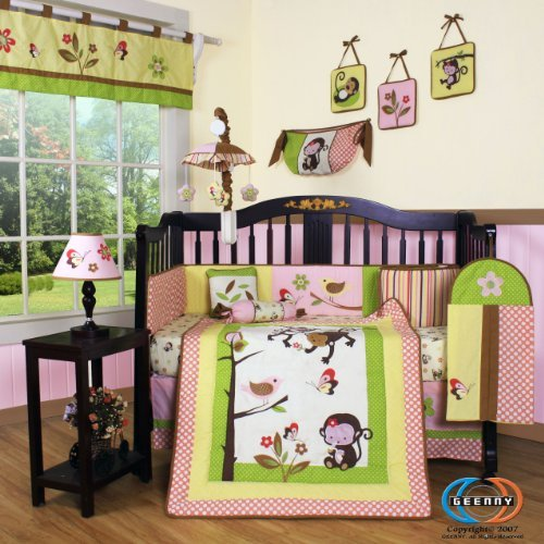 GEENNY Boutique 13 Piece Crib Bedding Set, Monkey (Girl Monkey Crib Bedding)