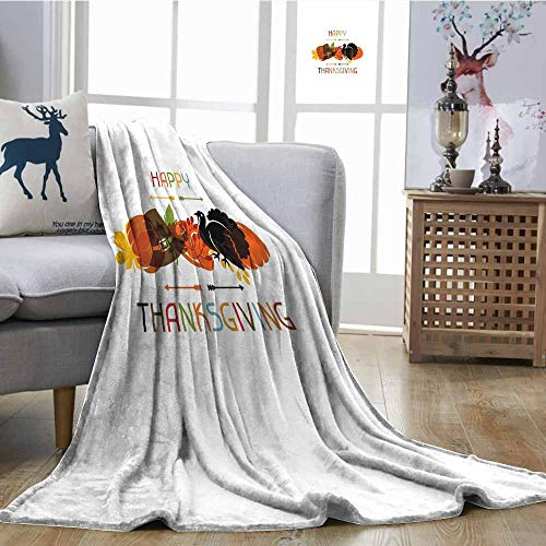 SONGDAYONE Breathable Blanket Turkey Travel Blanket Bird Pumpkin Traveller`s Hat Silhouette with Celebratory Thanksgiving Illustration Multicolor W63 xL63