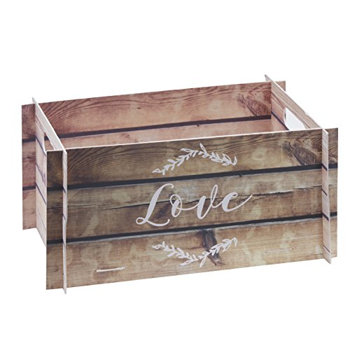Ginger Ray Wooden Effect Card Crate Box ideal for weddings & parties - Beautiful Botanics