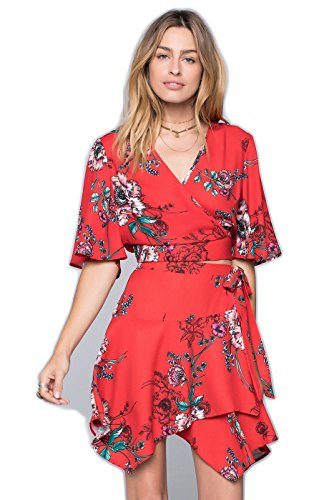 Cheap Band of Gypsies Mila Shadow Floral Wrap Skirt hot sale