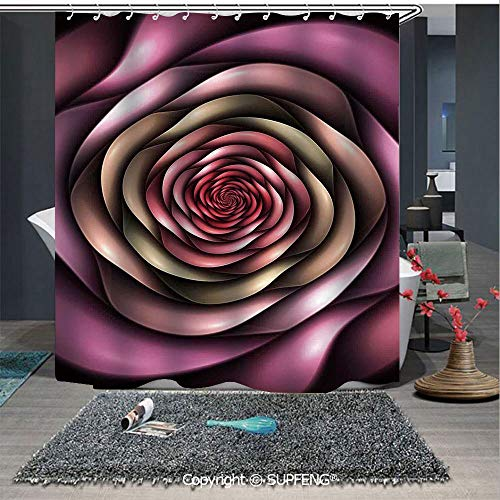 SUPFENG Elegant Shower Curtain Rose Petals Curved Winds Around Fixed Center Point at Increasing Digital Decor (72W x 72L Inch) Colorful,Bold Design, Waterproof, Easy to Care ,Privacy Protection ()