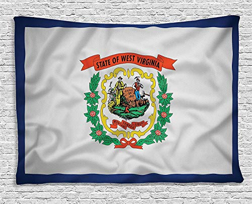 West Virginia Flag Two Tethered Swags Mountaineers are Always Free, Bedroom Living Room Dorm Wall Hanging Tapestry, 80W X 60L Inch