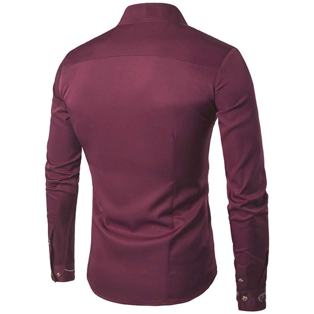 Hombres de otoño Casual Stand Collar Bordado Camisetas ...