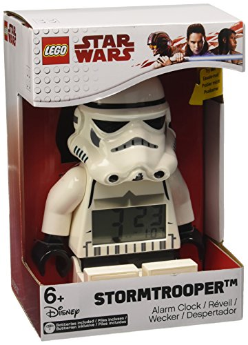 LEGO 9002137 Star Wars Stormtrooper Kids Minifigure Light Up Alarm Clock | black/white | plastic | 9.5 inches tall | LCD display | boy girl | (Lego Kids Star)