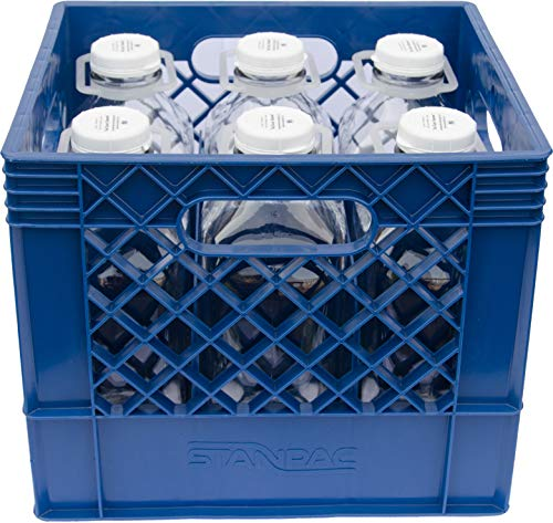 Plastic Crate for 1 Qt and 2 Qt Glass Milk Bottles Commercial Duty (Set of Six 64 Oz Glass Bottles including Crate)