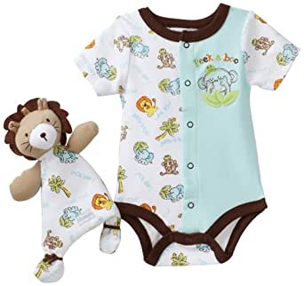 Vitamins Baby-boys Newborn Lion Peek A Boo 2 Piece Creeper Set With Blanket Buddy, Turquoise, 9 Months