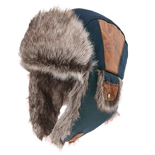 (SIGGI Mens Winter Navy Cotton Trooper Trapper Russian Bomber Hat Ushanka Earflap Hats )