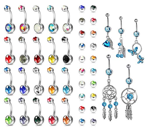 (Yadoca 25 Pcs 14G Belly Button Rings Multicolor CZ Stainless Steel Dangle Navel Rings Curved Barbell Body Piercing Jewelry)