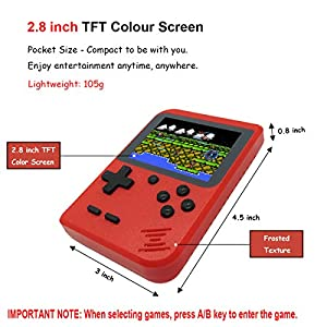 Kids Retro Handheld Games Console with 400 Classic NES FC Game, Mini Portable Pocket Game Boy 2.8 Inch Screen, 800mAh Rechargeable Battery, TV AV Output, Christmas Birthday Gift for Men Women Boy Girl