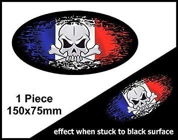 Gótico Calavera Fade a negro llevar Grunge Diseño ovalado con bandera de Francia Francés País para