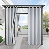 Outdoor Indoor Patio Curtain Drapes - RYB HOME Mildew Resistant Water Repellent Windproof Silver Grommet Blackout Curtains for Porch, 1 Piece, W 52 x L 84 In, Greyish White